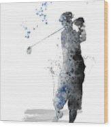 Golfer Wood Print