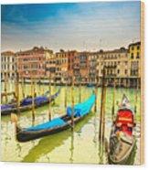 Gondolas In Venice - Italy  Wood Print