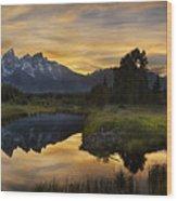 Grand Teton Sunset Reflections Wood Print