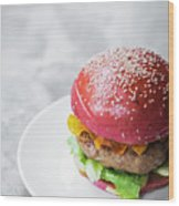 Gourmet Novelty Chicken Burger In Beetroot Bun Wood Print
