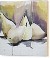 Graceful Pears Wood Print by Mindy Newman