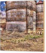 Grain Bins Wood Print
