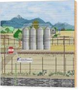 Grain Elevators At Ralston Wood Print