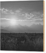 Grand Teton Hazy Sunset  Wood Print