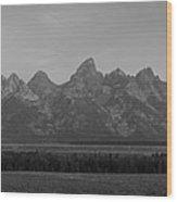 Grand Teton Mountain Range At Sunrise Panorama Wood Print