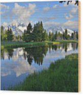 Grand Teton Reflection Wood Print