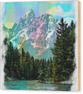Grand Tetons From The Snake River Wood Print
