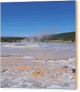 Great Fountain Geyser In Yellowstone National Park Wood Print