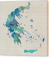 Greece Watercolor Map Wood Print