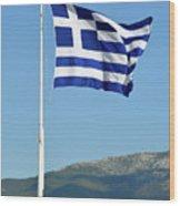 Greek Flag In Acropolis Of Athens Wood Print