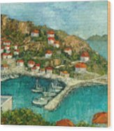 Greek Island Wood Print