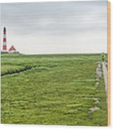 Green Fields And Romantic Lighthouse Wood Print