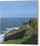 Green Grass On The Sea Cliff's In Ireland Wood Print