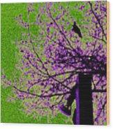 Green Light Night Flight Wood Print