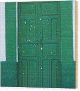 Green Wood Door Wood Print