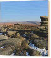 Gritstone Rocks On Hathersage Moor, Derbyshire County Wood Print