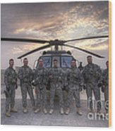Group Photo Of Uh-60 Black Hawk Pilots Wood Print
