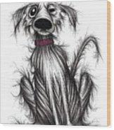 Grumpy Dog Wood Print