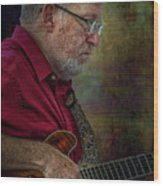 Guitar Picker In The Park On Sunday Wood Print