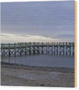 Gulf Beach Pier Wood Print