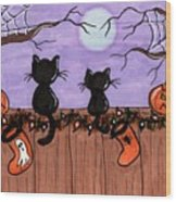 Halloween Cats Fence Wood Print