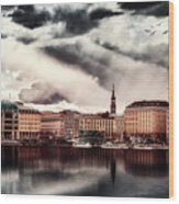 Hamburg At Dusk Wood Print