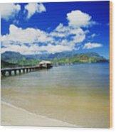 Hanalei Bay With Pier Wood Print