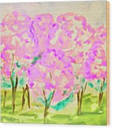 Hand Painted Picture, Spring Garden Wood Print