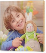 Happy Boy With Easter Bunny Wood Print