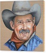 Happy Cowboy Wood Print