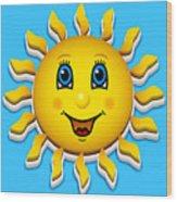 Happy Smiling Sun Wood Print