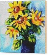 Happy Sunflowers  Wood Print