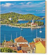 Harbor Of Vis Island Panorama Wood Print