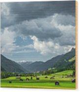 Hay Barns In Oberinntal, Pettneu Am Arlberg Wood Print