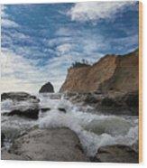 Haystack Rock At Cape Kiwanda Wood Print