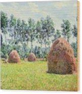 Haystacks At Giverny Wood Print
