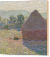Haystacks, Midday Wood Print