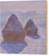 Haystacks, Snow And Sun Effect Wood Print