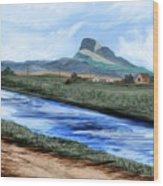 Heart Mountain And The Canal Wood Print