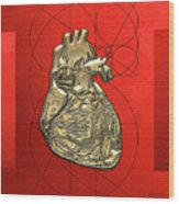 Heart Of Gold - Golden Human Heart On Red Canvas Wood Print by Serge Averbukh