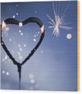 Heart Shape Sparkler Wood Print