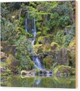 Heavenly Falls In Spring Wood Print