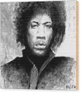 Hendrix Portrait Wood Print