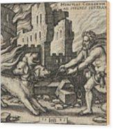 Hercules Capturing Cerberus Wood Print