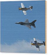 Heritage Flight, P-51 Mustang And F-16 Fighting Falcon Wood Print
