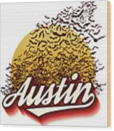 Congress Avenue Bridge Bats Take Flight In Austin Texas Wood Print