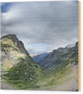 Highline Trail Overlooking Going To The Sun Road - Glacier National Park Wood Print
