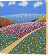Hills Of Flowers Wood Print