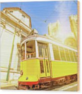 Historic Tram And Lisbon Cathedral Wood Print