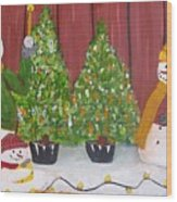 Holiday Snowmen Wood Print